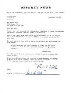 THERON C. LIDDLE - DOCUMENT SIGNED 09/12/1968 CO-SIGNED BY: ROBERT WEST