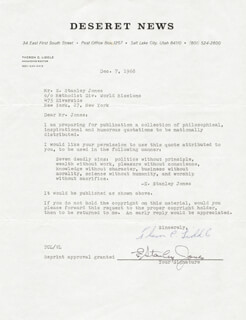 Autographs: E. STANLEY JONES - DOCUMENT SIGNED 12/07/1968 CO-SIGNED BY: THERON C. LIDDLE