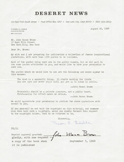 Autographs: JOHN MASON BROWN - DOCUMENT SIGNED 09/03/1968 CO-SIGNED BY: THERON C. LIDDLE