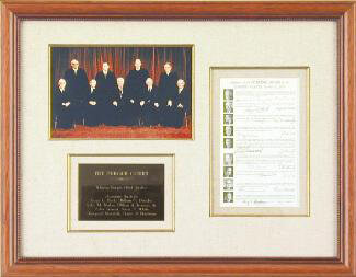 THE WARREN E. BURGER COURT - AUTOGRAPH CIRCA 1970 CO-SIGNED BY: ASSOCIATE JUSTICE BYRON R. WHITE, ASSOCIATE JUSTICE JOHN M. HARLAN JR., CHIEF JUSTICE WARREN E. BURGER, ASSOCIATE JUSTICE HUGO L. BLACK, ASSOCIATE JUSTICE WILLIAM O. DOUGLAS, ASSOCIATE JUSTICE POTTER STEWART, ASSOCIATE JUSTICE WILLIAM J. BRENNAN JR., ASSOCIATE JUSTICE THURGOOD MARSHALL, ASSOCIATE JUSTICE HARRY A. BLACKMUN