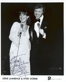 STEVE LAWRENCE - PRINTED PHOTOGRAPH SIGNED IN INK CO-SIGNED BY: EYDIE GORME