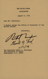 Autographs: PRESIDENT RICHARD M. NIXON - TYPESCRIPT SIGNED CIRCA 1979 CO-SIGNED BY: PRESIDENT GERALD R. FORD