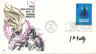 J. PAUL GETTY - FIRST DAY COVER SIGNED