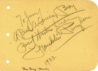 FRANKLIN PANGBORN - AUTOGRAPH NOTE SIGNED 1933