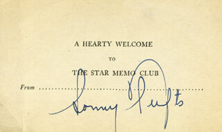 SONNY TUFTS - PRINTED CARD SIGNED IN INK