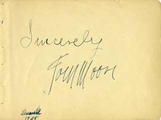 TOM MOORE - AUTOGRAPH SENTIMENT SIGNED