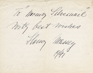 IIONA MASSEY - AUTOGRAPH NOTE SIGNED 1941