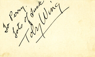 TOBY WING - AUTOGRAPH SENTIMENT SIGNED