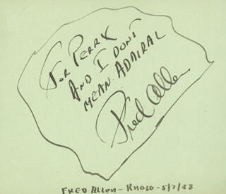 FRED ALLEN - AUTOGRAPH NOTE SIGNED 05/07/1938