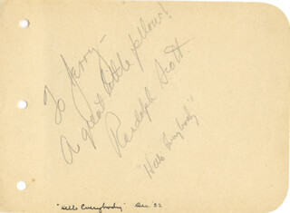 RANDOLPH SCOTT - AUTOGRAPH NOTE SIGNED
