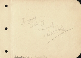 ANITA PAGE - AUTOGRAPH SENTIMENT SIGNED