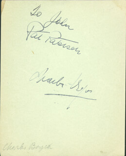 CHARLES BOYER - INSCRIBED SIGNATURE CO-SIGNED BY: PAT PATERSON, GENE RAYMOND