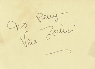 VERA ZORINA - INSCRIBED SIGNATURE