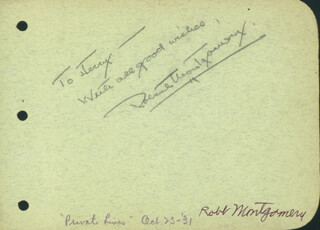 ROBERT MONTGOMERY - AUTOGRAPH NOTE SIGNED CO-SIGNED BY: BERT WHEELER