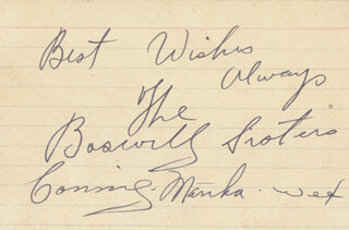 THE BOSWELL SISTERS - AUTOGRAPH SENTIMENT SIGNED CO-SIGNED BY: THE BOSWELL SISTERS (MARTHA BOSWELL), THE BOSWELL SISTERS (HELVETIA VET BOSWELL), THE BOSWELL SISTERS (CONNEE BOSWELL)