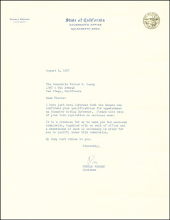 PRESIDENT RONALD REAGAN - TYPED LETTER SIGNED 08/04/1967
