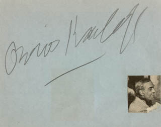 BORIS KARLOFF - AUTOGRAPH CO-SIGNED BY: TED HEATH BAND (KENNY BAKER)