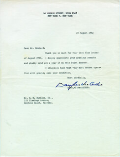 GENERAL DOUGLAS MACARTHUR - TYPED LETTER SIGNED 08/30/1962
