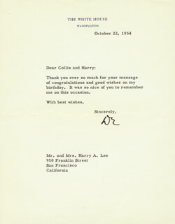 PRESIDENT DWIGHT D. EISENHOWER - TYPED LETTER SIGNED 10/22/1954