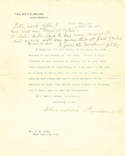 PRESIDENT THEODORE ROOSEVELT - TYPED LETTER SIGNED 09/30/1907