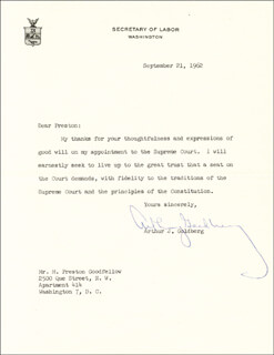Autographs: ASSOCIATE JUSTICE ARTHUR J. GOLDBERG - TYPED LETTER SIGNED 09/21/1962