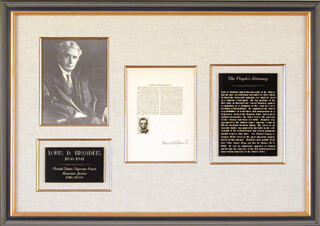Autographs: ASSOCIATE JUSTICE LOUIS D. BRANDEIS - TYPESCRIPT SIGNED