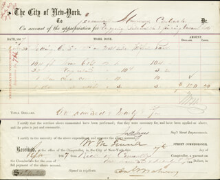 WILLIAM M. BOSS TWEED - DOCUMENT SIGNED 09/07/1867 CO-SIGNED BY: RICHARD B. CONNOLLY