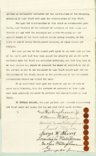 GEORGE WESTINGHOUSE JR. - DOCUMENT SIGNED 01/27/1896 CO-SIGNED BY: H. H. WESTINGHOUSE, HARRIET WESTINGHOUSE, LOVANTIA A. WESTINGHOUSE, EMELINE WESTINGHOUSE, FRANK MOORE, GEORGE W. MOORE