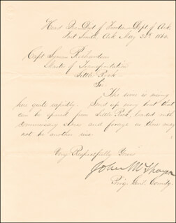 MAJOR GENERAL JOHN M. THAYER - MANUSCRIPT LETTER SIGNED 05/25/1864