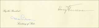PRESIDENT HARRY S TRUMAN - DIPLOMATIC APPOINTMENT SIGNED 10/20/1951 CO-SIGNED BY: DEAN ACHESON