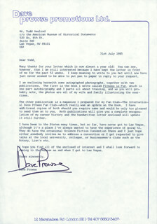 DAVE PROWSE - TYPED LETTER SIGNED 07/31/1985