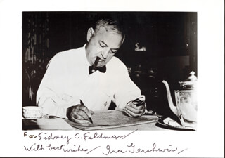 IRA GERSHWIN - AUTOGRAPHED INSCRIBED PHOTOGRAPH