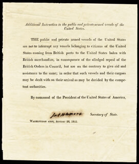 PRESIDENT JAMES MONROE - DOCUMENT SIGNED 08/28/1812