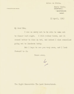 Autographs: PRIME MINISTER WINSTON S. CHURCHILL (GREAT BRITAIN) - TYPED LETTER SIGNED 04/15/1963
