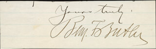 MAJOR GENERAL BENJAMIN F. BUTLER - AUTOGRAPH SENTIMENT SIGNED