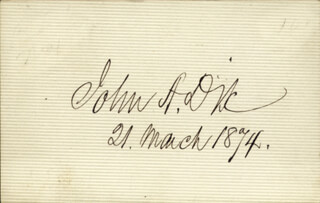 Autographs: MAJOR GENERAL JOHN A. DIX - SIGNATURE(S) 03/21/1874