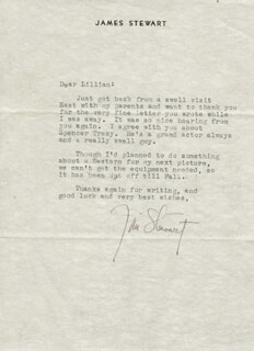 JAMES JIMMY STEWART - TYPED LETTER SIGNED CIRCA 1947