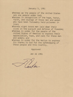 Autographs: PRESIDENT JAMES E. JIMMY CARTER - TYPESCRIPT SIGNED
