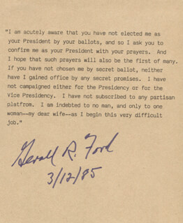 Autographs: PRESIDENT GERALD R. FORD - TYPESCRIPT SIGNED 03/12/1985