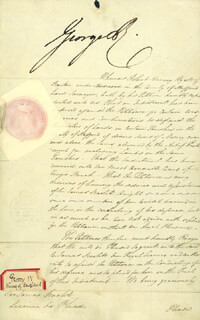KING GEORGE IV (GREAT BRITAIN) - DOCUMENT SIGNED 02/05/1829 CO-SIGNED BY: PRIME MINISTER ROBERT PEEL (GREAT BRITAIN)