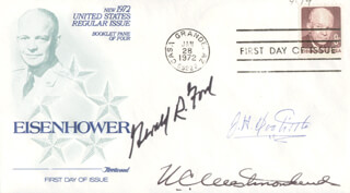 PRESIDENT GERALD R. FORD - FIRST DAY COVER SIGNED CO-SIGNED BY: BRIGADIER GENERAL JAMES H. JIMMY DOOLITTLE, GENERAL WILLIAM C. WESTMORELAND