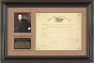 PRESIDENT GROVER CLEVELAND - CIVIL APPOINTMENT SIGNED 12/04/1885 CO-SIGNED BY: DANIEL MANNING