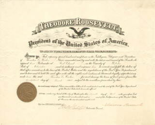Autographs: PRESIDENT THEODORE ROOSEVELT - CIVIL APPOINTMENT SIGNED 03/23/1906 CO-SIGNED BY: GEORGE B. CORTELYOU