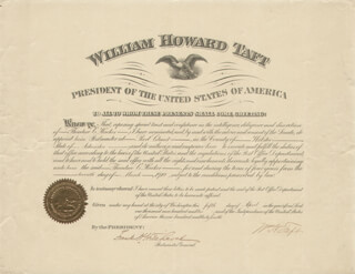 Autographs: PRESIDENT WILLIAM H. TAFT - CIVIL APPOINTMENT SIGNED 04/05/1910 CO-SIGNED BY: FRANK H. HITCHCOCK