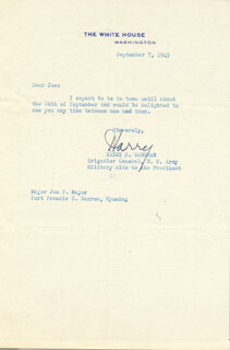 GENERAL HARRY H. VAUGHAN - TYPED LETTER SIGNED 09/07/1945