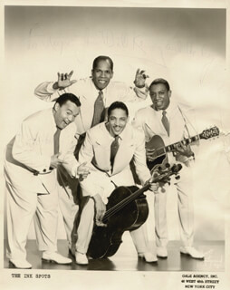 THE INK SPOTS - AUTOGRAPHED INSCRIBED PHOTOGRAPH CO-SIGNED BY: THE INK SPOTS (WILLIAM (BILLY) KENNY), THE INK SPOTS (BERNIE MACKEY), THE INK SPOTS (BILLY (BUTTERBALL) BOWEN)