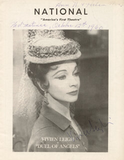 VIVIEN LEIGH - PROGRAM SIGNED CIRCA 1960