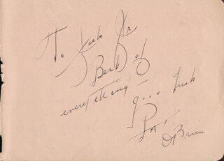 PAT O'BRIEN - AUTOGRAPH NOTE SIGNED CO-SIGNED BY: ERNEST WOOD