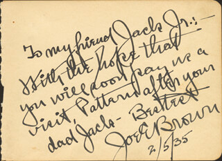 JOE E. BROWN - AUTOGRAPH NOTE SIGNED 02/05/1935
