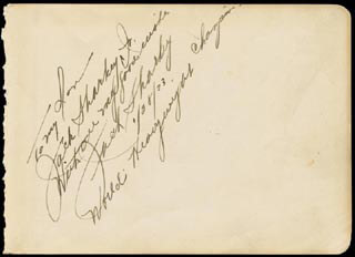 JACK SHARKEY - AUTOGRAPH NOTE SIGNED 01/28/1933